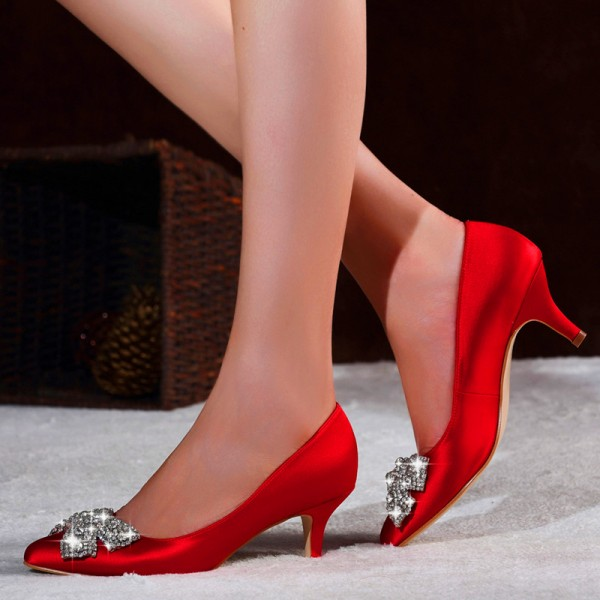 Red Satin Low Heel Wedding Shoes Rhinestone Bow Pointy Toe Pumps image 1