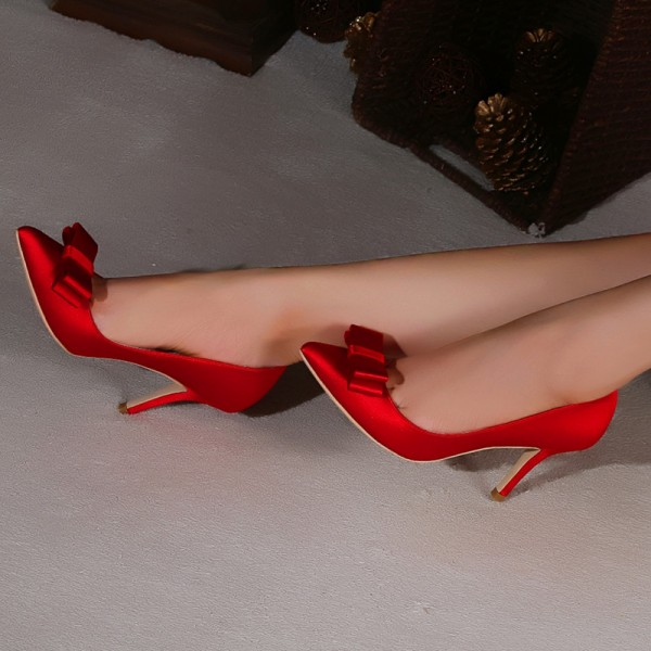 Women's Hot Red Pointy Toe Stiletto Heels Pumps With Bows image 2