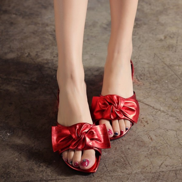 Red Summer Women S Slide Sandals Open Toe Low Heel Bow