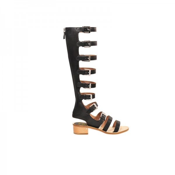 Women's Black Buckle Chunky Heel Gladiator Sandals image 2