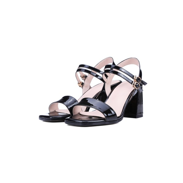 Women's Black Patent Leather Open Toe Chunky Heel Sandals image 1