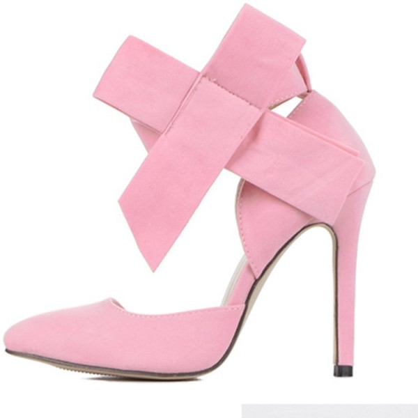 Pink Stiletto Heels Suede Bow Closed Toe Double D'orsay Pumps for Prom  image 2