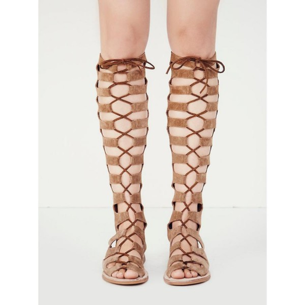 Khaki Gladiator Sandals Suede Comfortable Lace up Flats image 1