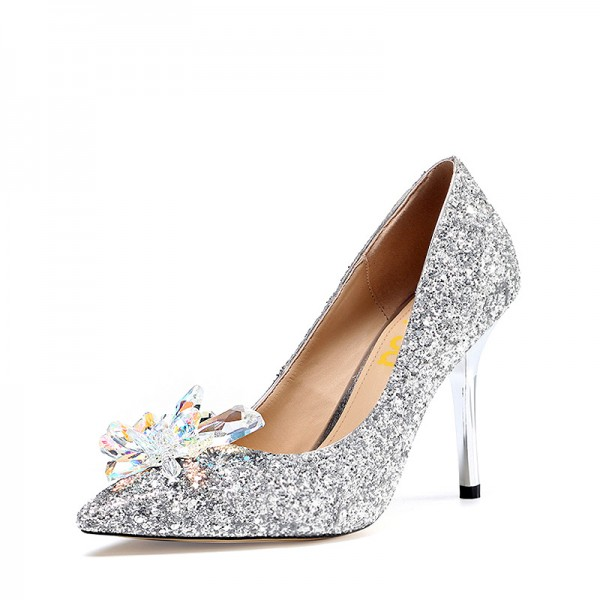 Silver Bridal Heels Cinderella Crystal Glitter Shoes for Wedding image 1