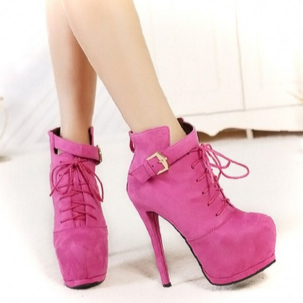 Fuchsia Lace up Boots Suede Platform High Heel Shoes for Women image 2