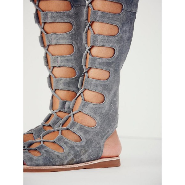 Women's Grey Strappy Gladiator Sandals Suede Knee-high Lace-up Flats image 3
