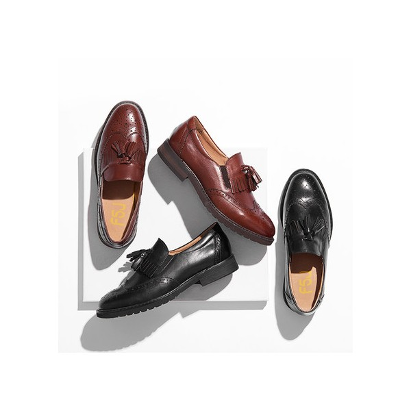Women's Maroon Tassels Round Toe Hollow Out Vintage shoes  image 2