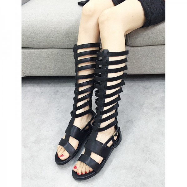 Women's Black Flat Gladiator Sandals Open Toe Knee High Sandals image 2