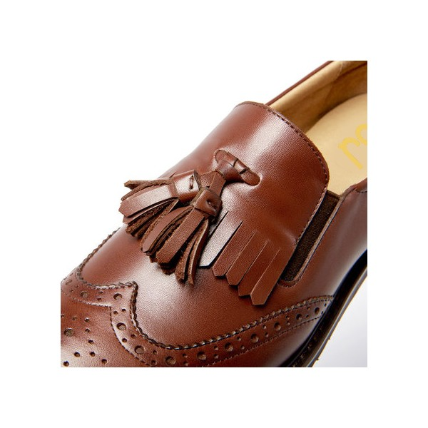 Women's Maroon Tassels Round Toe Hollow Out Vintage shoes  image 3