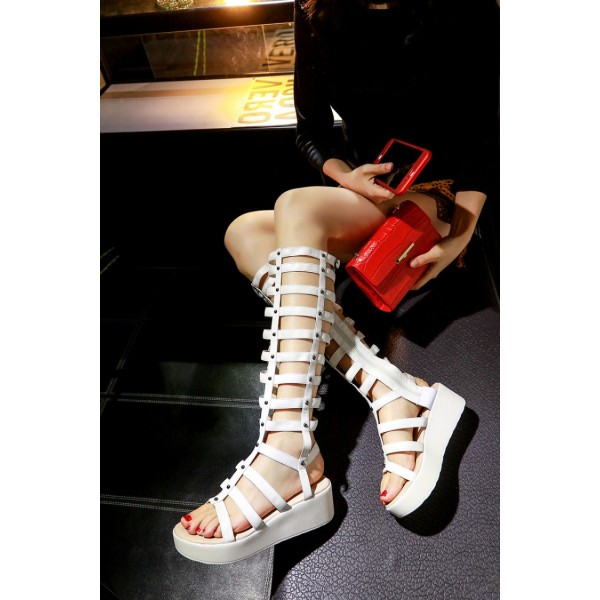 Women's White Rivets Wedge Heels Gladiator Sandals by FSJ Shoes image 2
