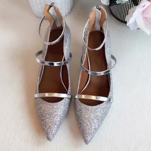 Women's Silver Dazzling Pointed Toe Stiletto Ankle Strap Heels Shoes image 2