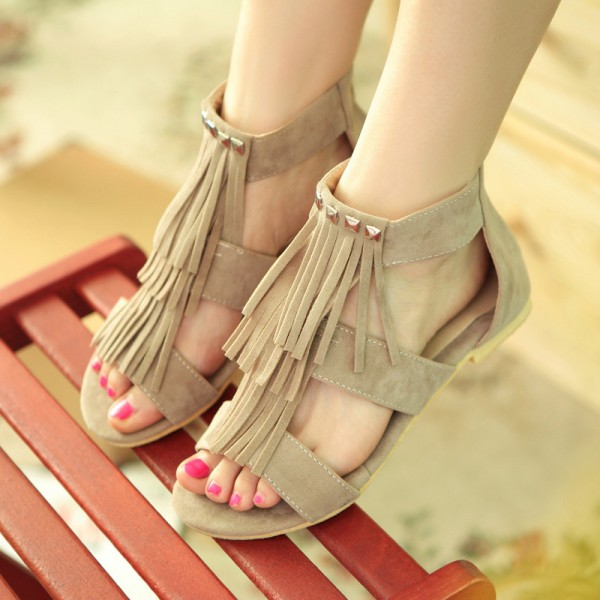 Women's Brown Suede Rivets Comfortable Fringe Sandals image 1