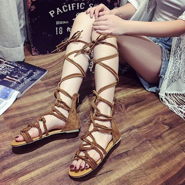 Women's Brown Open Toe Flats Strappy Sandals image 1