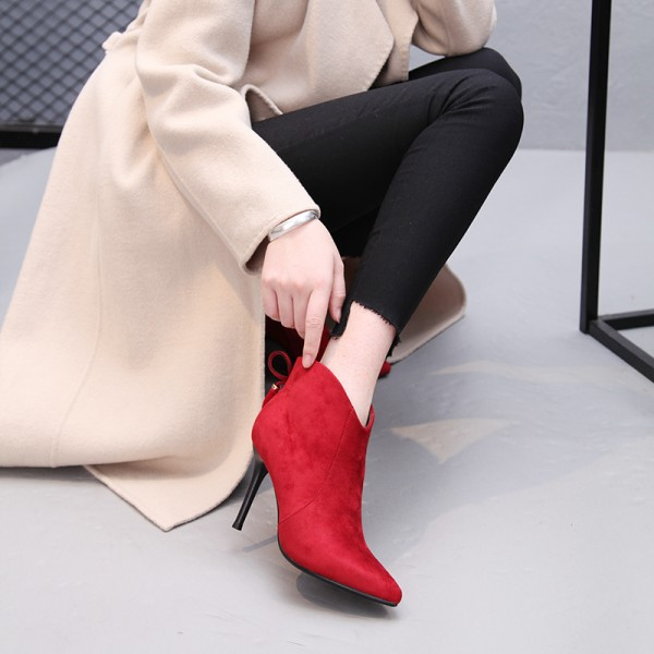 Red Stiletto Boots Fashion Suede Heeled Ankle Booties  image 3