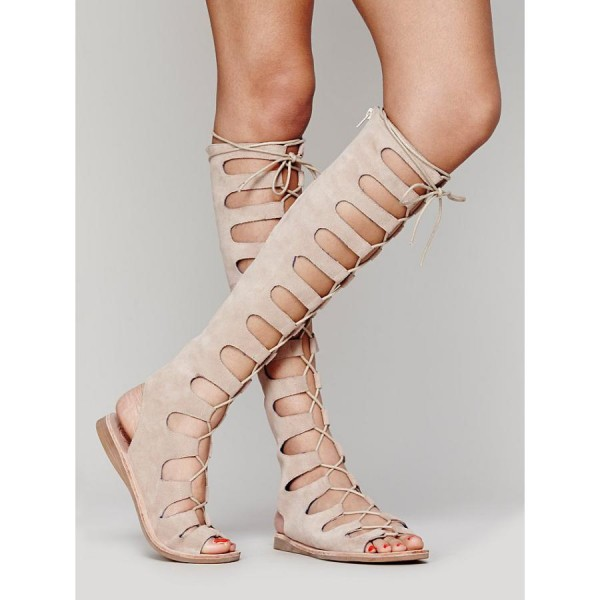 Women's Nude Knee-high Lace-up Suede Flat Gladiator Sandals image 3