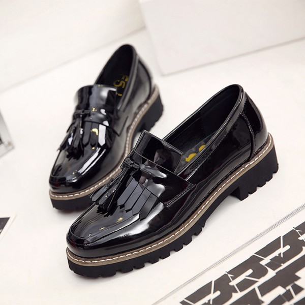 Black Patent Leather Square Toe Fringe and Tassel Loafers for Women image 1