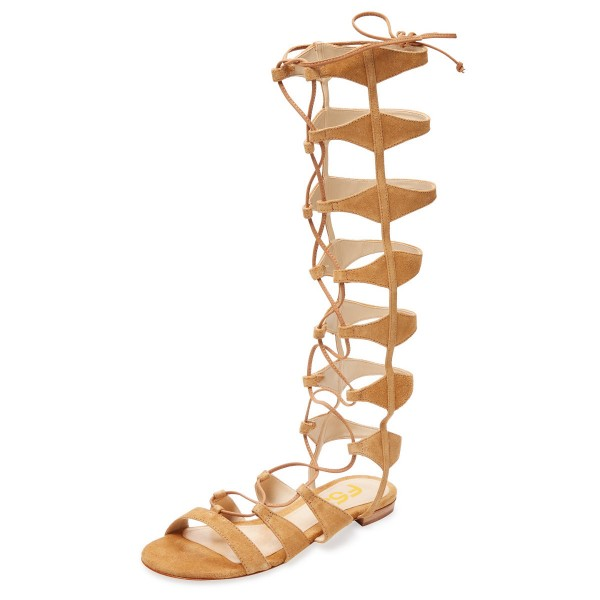Khaki Gladiator Sandals Knee-high Strappy Flats  image 1