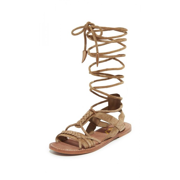 Khaki Gladiator Sandals Comfortable Strappy Flats  image 1