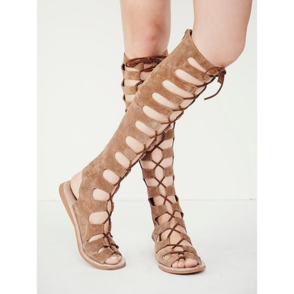 Khaki Gladiator Sandals Suede Comfortable Lace up Flats image 4