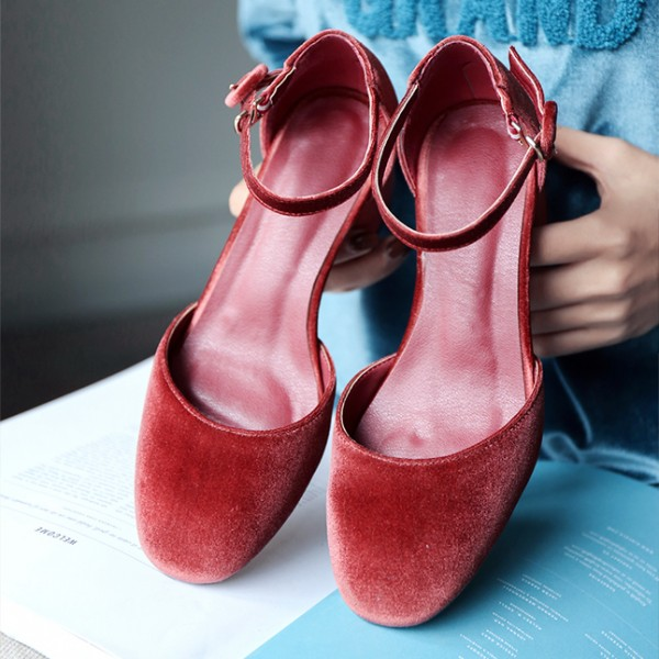 Women's Red Suede Ankle Straps Chunky Heels Vintage Shoes image 2