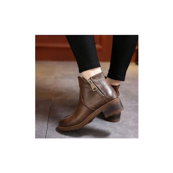 Women's Brown Round Toe Chunky  Heels Ankle Vintage Boots image 2