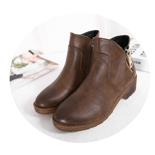 Women's Brown Round Toe Chunky  Heels Ankle Vintage Boots image 1