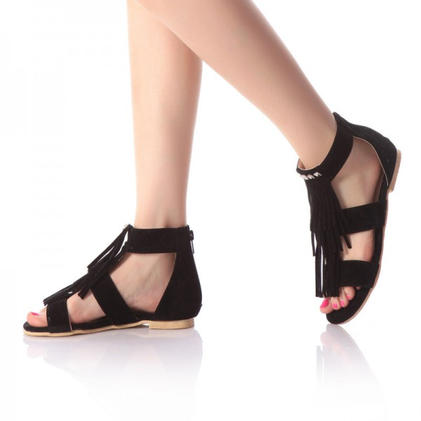 Black Fringe Sandals Comfortable Flat Shoes image 1