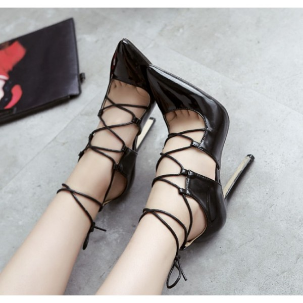 Black Strappy Heels Pointy Toe Lace-up Stilettos Pumps image 2