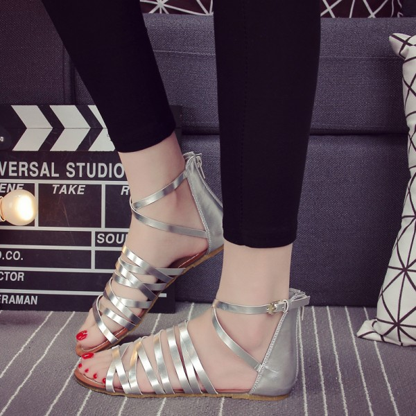 Women's Silver Ankle High Flat Strappy Shoes image 1