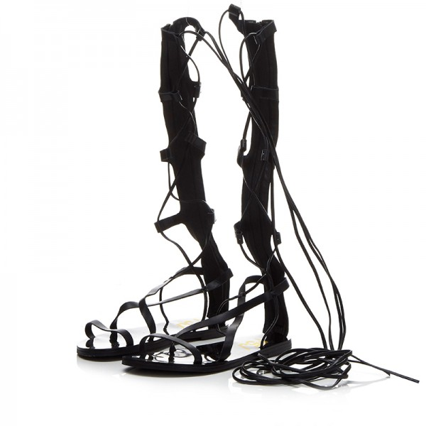 Women's Black Strappy Flat Women's Gladiator Sandals image 1