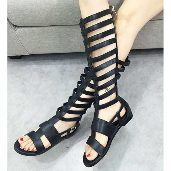 Women's Black Flat Gladiator Sandals Open Toe Knee High Sandals image 3