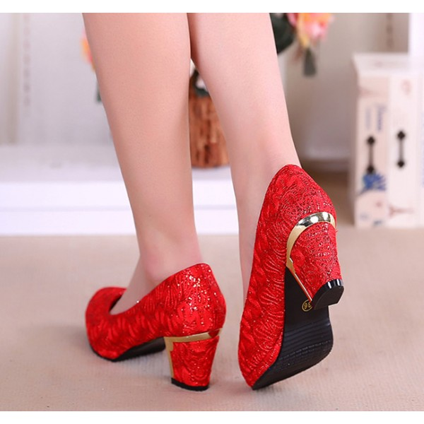 Women's  Red Lace Floral-printed Round Toe Chunky Heel Bridal Shoes image 3