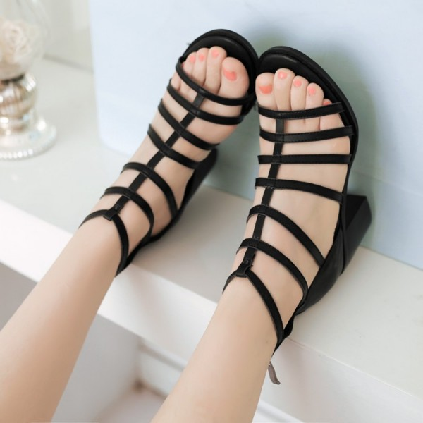 Women's Black Chunky Heel Gladiator Heels Sandals image 3