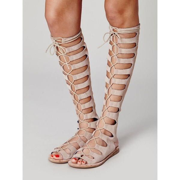 Women's Nude Knee-high Lace-up Suede Flat Gladiator Sandals image 4