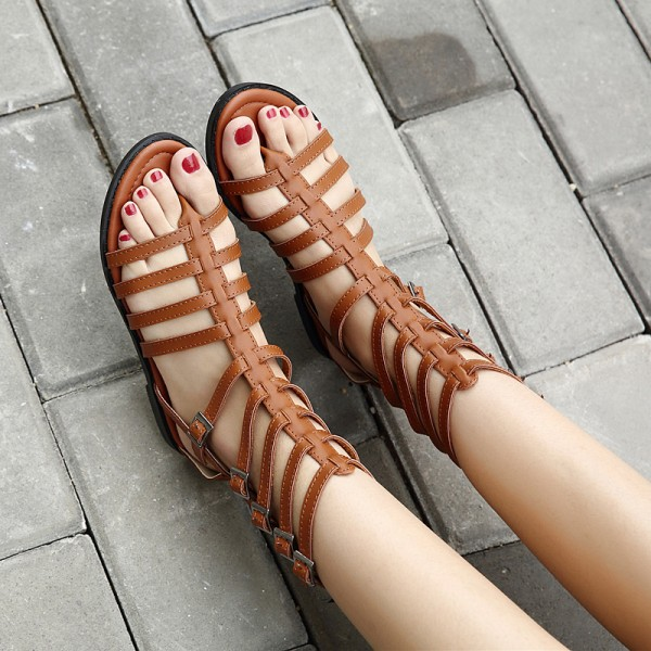Tan Gladiator Sandals Open Toe Comfortable Summer Sandals image 3