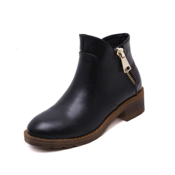 Black Short Boots Round Toe Low Heel Vintage Ankle Boots image 1