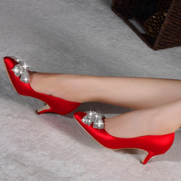 Red Satin Low Heel Wedding Shoes Rhinestone Bow Pointy Toe Pumps image 3