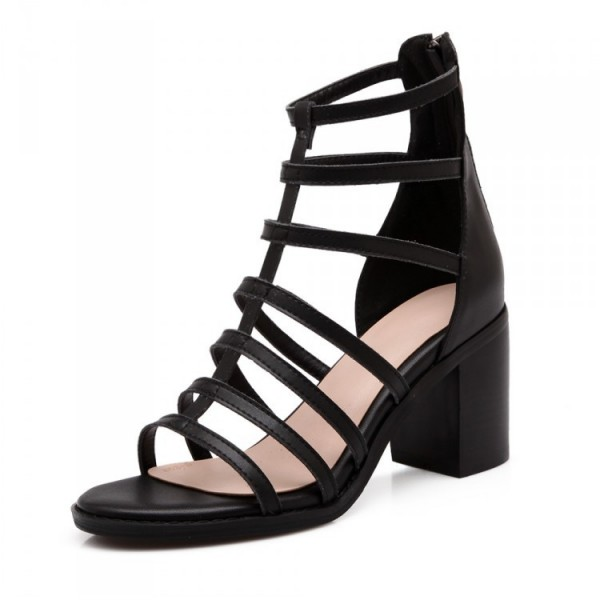 Women's Black Chunky Heel Gladiator Heels Sandals image 4