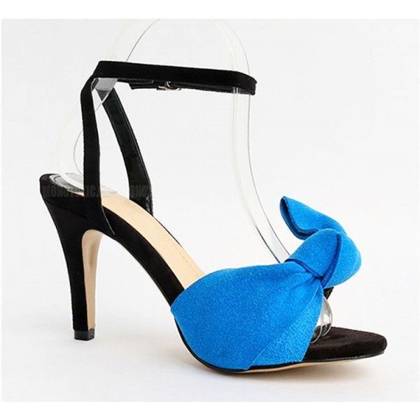 Blue Ankle Strap Sandals Open Toe Bow Heels for Office Lady image 2