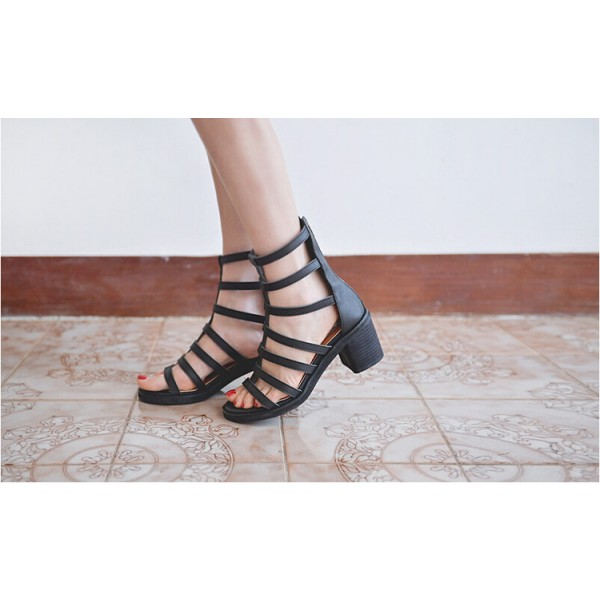 Women's Black Chunky Heel Gladiator Heels Sandals image 5