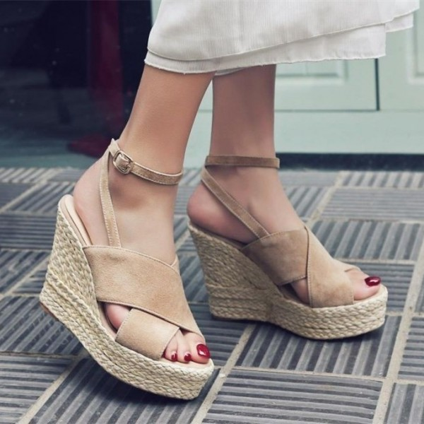 Women's Nude Wedge Sandals Ankle Strap Open Toe Platform Shoes image 2