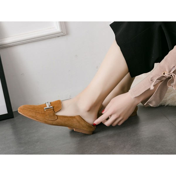 Women's Khaki Square Toe Comfortable Flats Vintage Shoes image 2