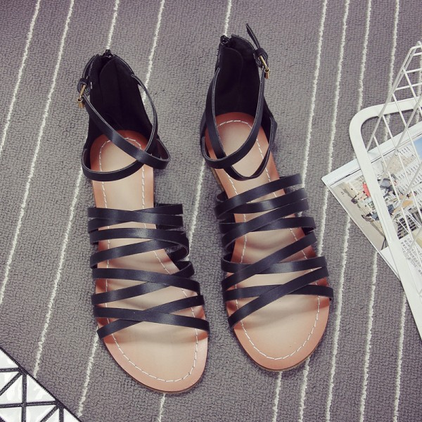 Women's Black Flats Open Toe Gladiator Ankle Strap Sandals image 3