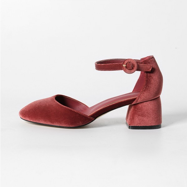 Brick Red Velvet Heels Square Toe Block Heel Vintage Pumps image 1