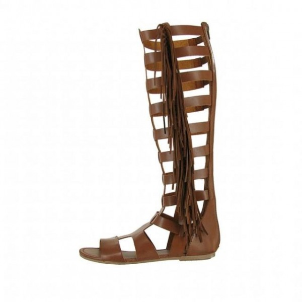Brown Vintage Fringe Roman Sandals Flats Gladiator Sandals image 2