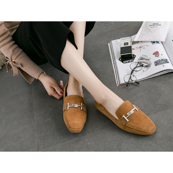 Women's Khaki Square Toe Comfortable Flats Vintage Shoes image 1