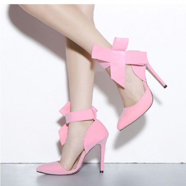 Pink Bow Heels Ankle Strap Pointy Toe Pumps Stiletto Heel Prom Shoes image 1