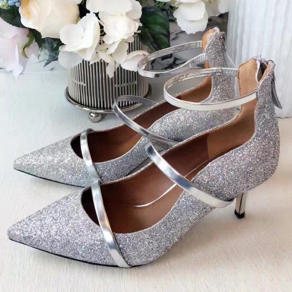 26ac9d36b6ae Silver Low Heel Glitter Shoes Pointy Toe Kitten Heel Pumps image 1 ...