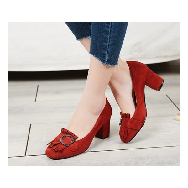 Women's Red Suede Square Toe Chunky Heels Tassels Vintage Shoes image 2