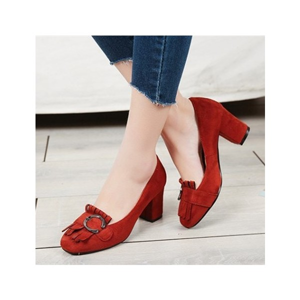 Women's Red Suede Square Toe Chunky Heels Tassels Vintage Shoes image 1